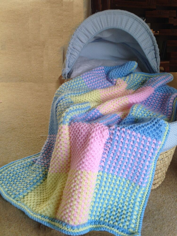 """Baby Blanket /Cot Cover """"Colourful squares"""" Knitting ..."""