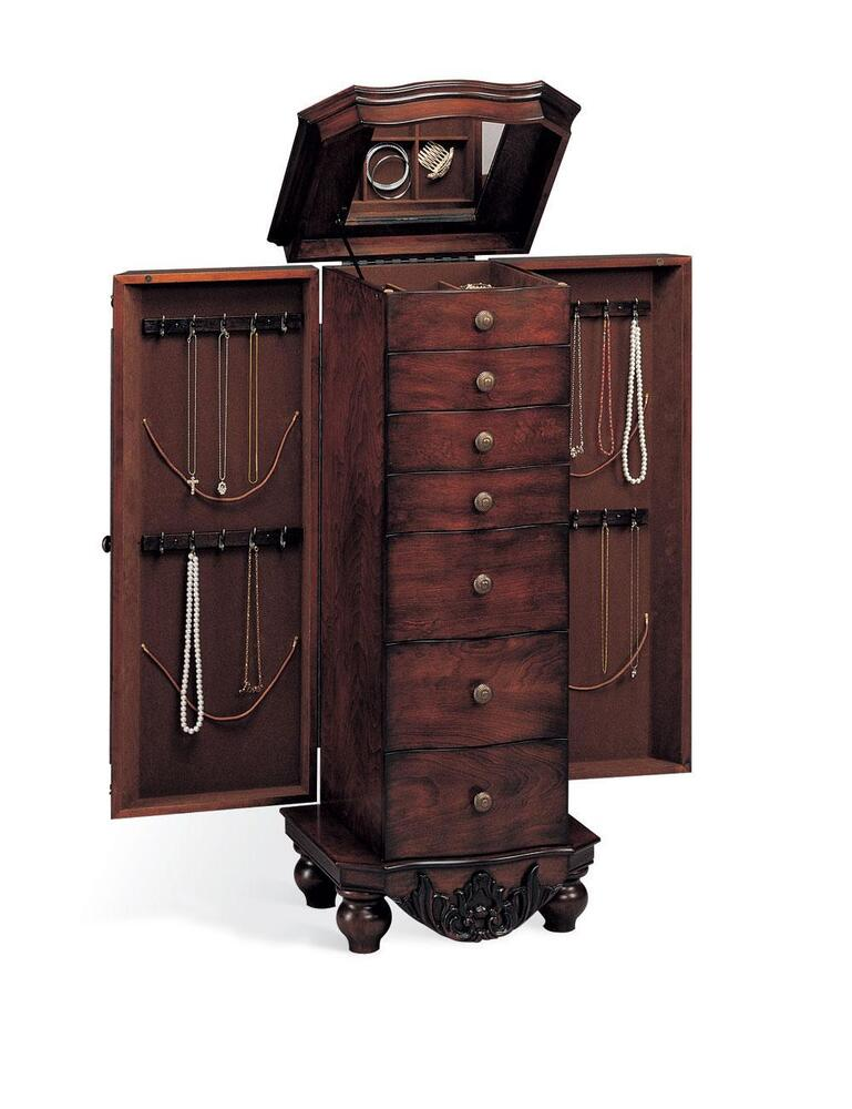 antique cherry finish jewelry armoire lingerie chest by coaster 900065 ebay. Black Bedroom Furniture Sets. Home Design Ideas