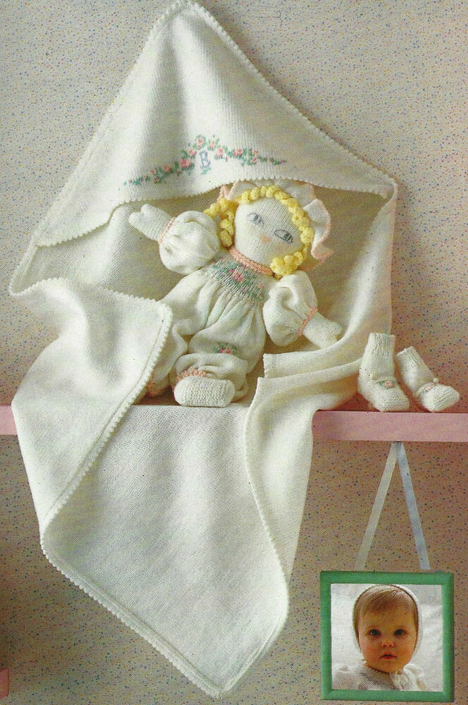 Baby Doll Blanket Knit Pattern : Baby Wrap/Blanket Knitting Pattern Toy Doll, Bootees Picot edge 4ply 624 eBay