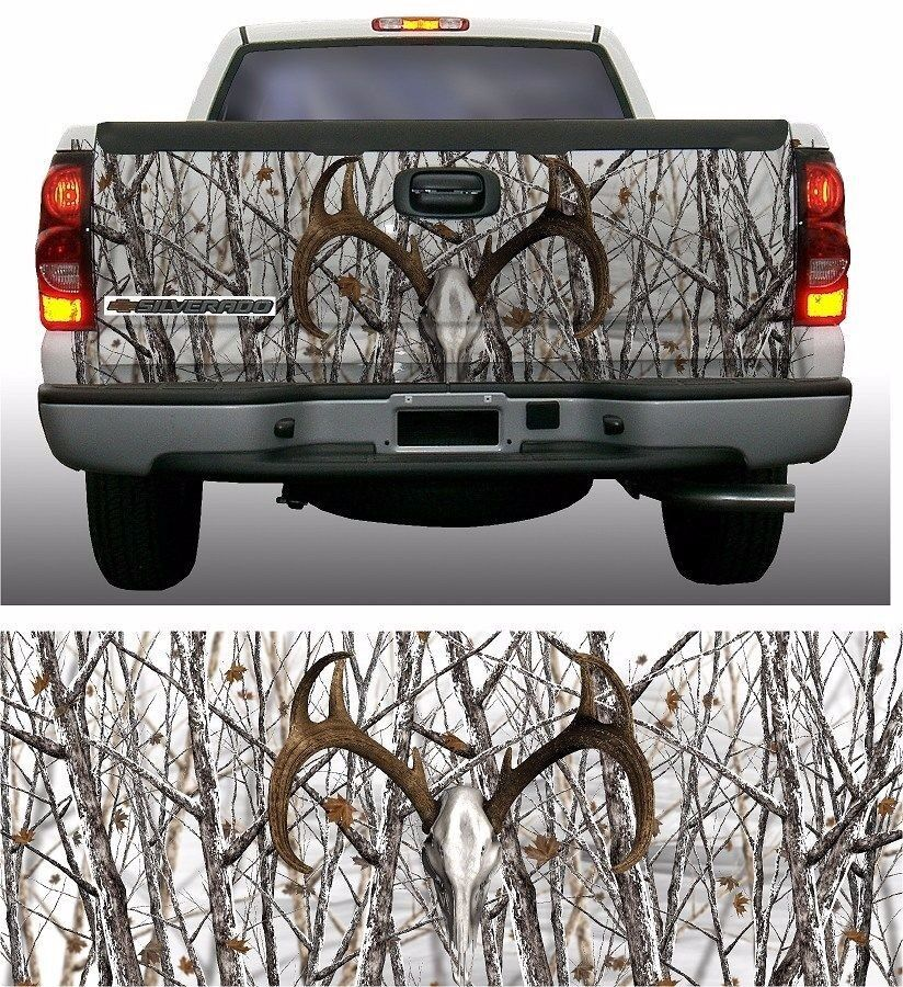 Snow Camouflage Deer Skull Truck Tailgate Vinyl Graphic Decal - Rear window hunting decals for trucksrear window graphics deer ebay