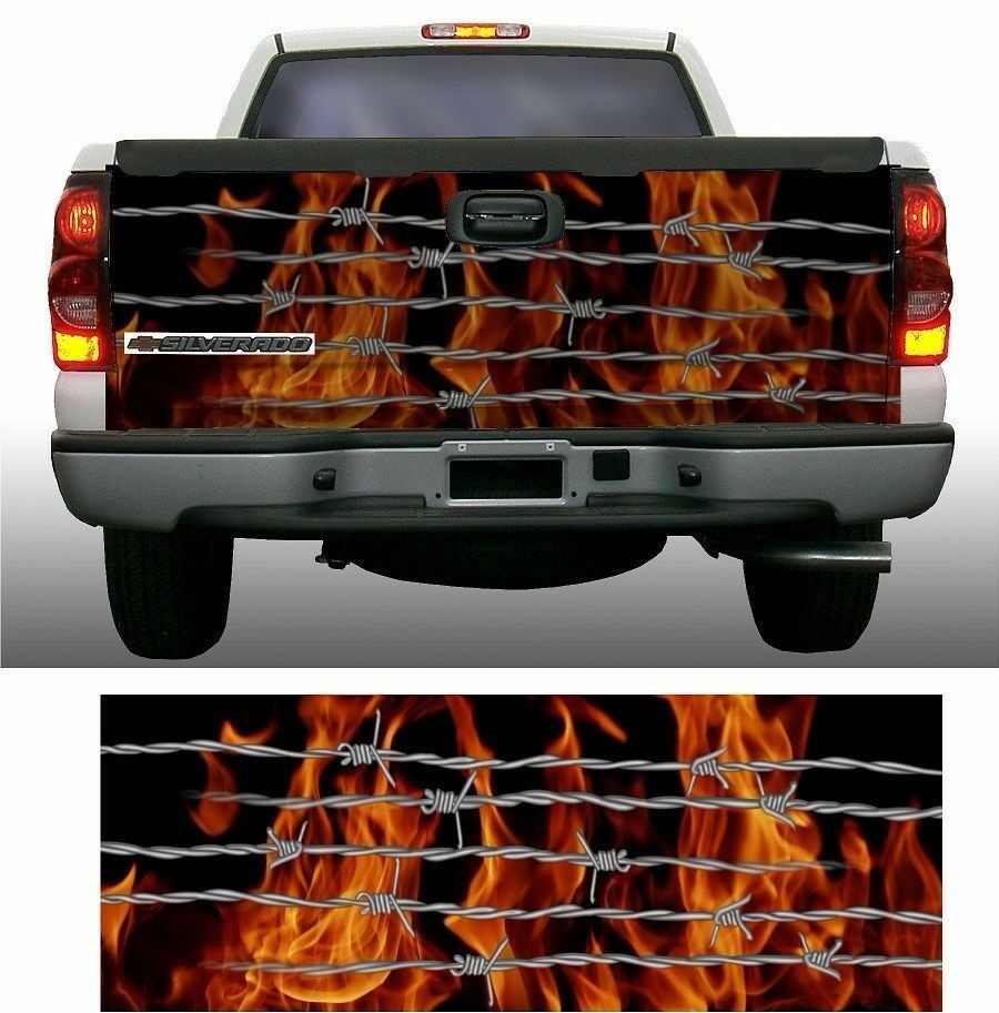 Flame Fire Barbed Wire Truck Tailgate Vinyl Graphic Decal