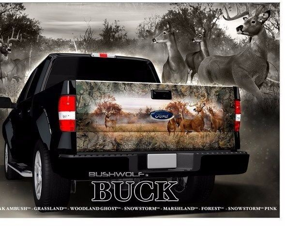 Buck Hunting Camouflage Truck Tailgate Vinyl Graphic Decal