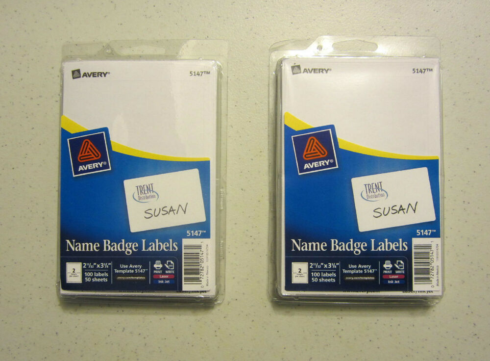 200 Avery Dennison White Name Badges Tags Id Labels Adhesive Peel
