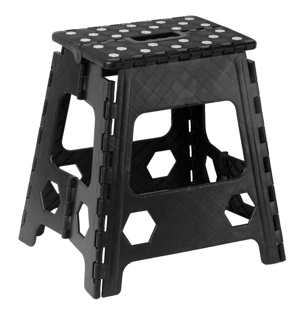 Folding Step Stool With Anti Slip Dots 15 Inch Black 307