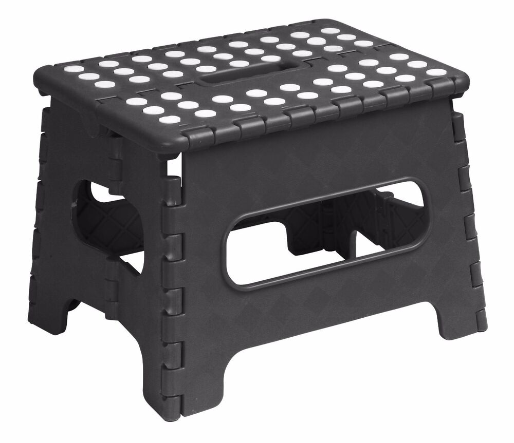Folding Plastic Step Stool 9 Inch Black 253bk Superior