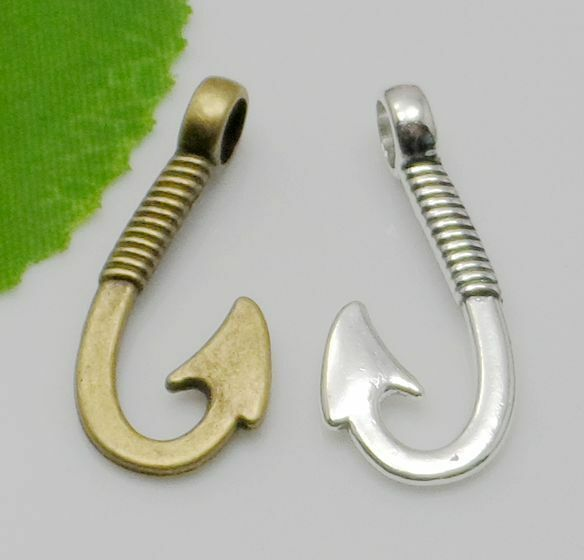10 200pcs antique silver finish fish hook charm pendant for Fish hook charm