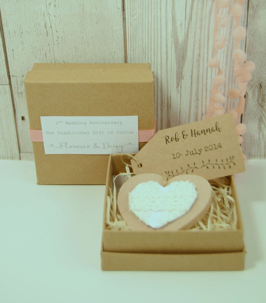 Cotton Boxed Heart Hanger 2nd Wedding Anniversary Gift
