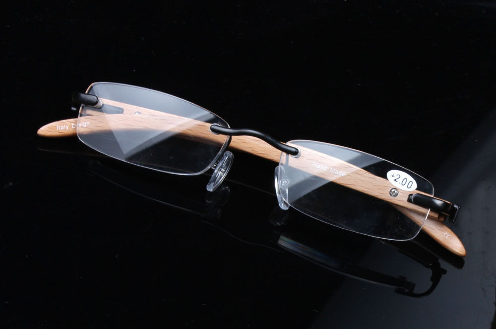 Rimless Glasses Durability : Designer Mens Womens Rimless Wooden Reading Glasses ...