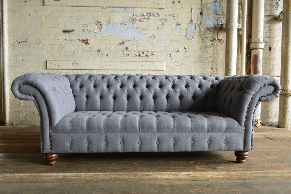 Modern Handmade 3 Seater Iron Grey Wool Chesterfield Sofa Couch Chair Ebay