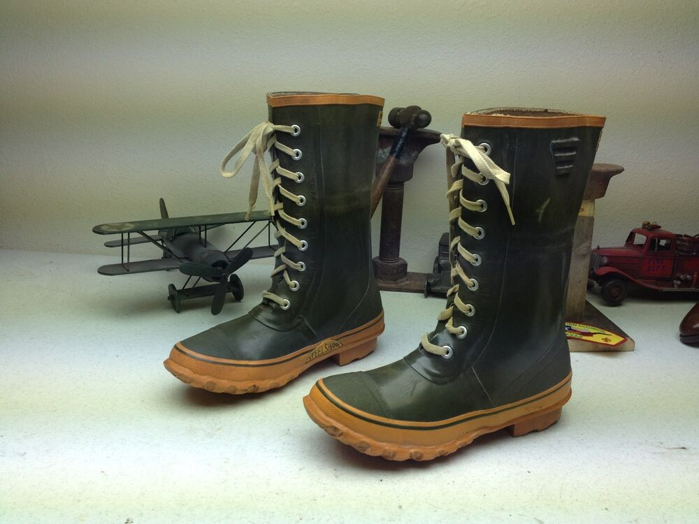 Distressed Green Trax Lace Up Work Rain Water Boots 10m Ebay