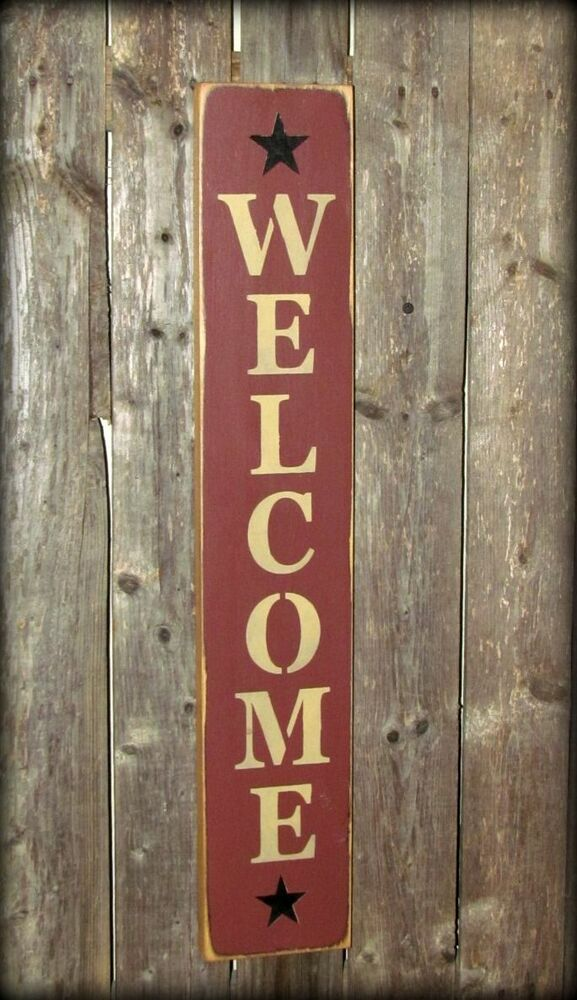 Welcome House Sign Vertical Welcome Front Door Decor Wooden Sign