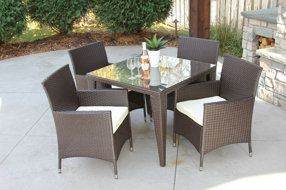 5 pc standard outdoor all weather wicker rattan table for All weather garden furniture