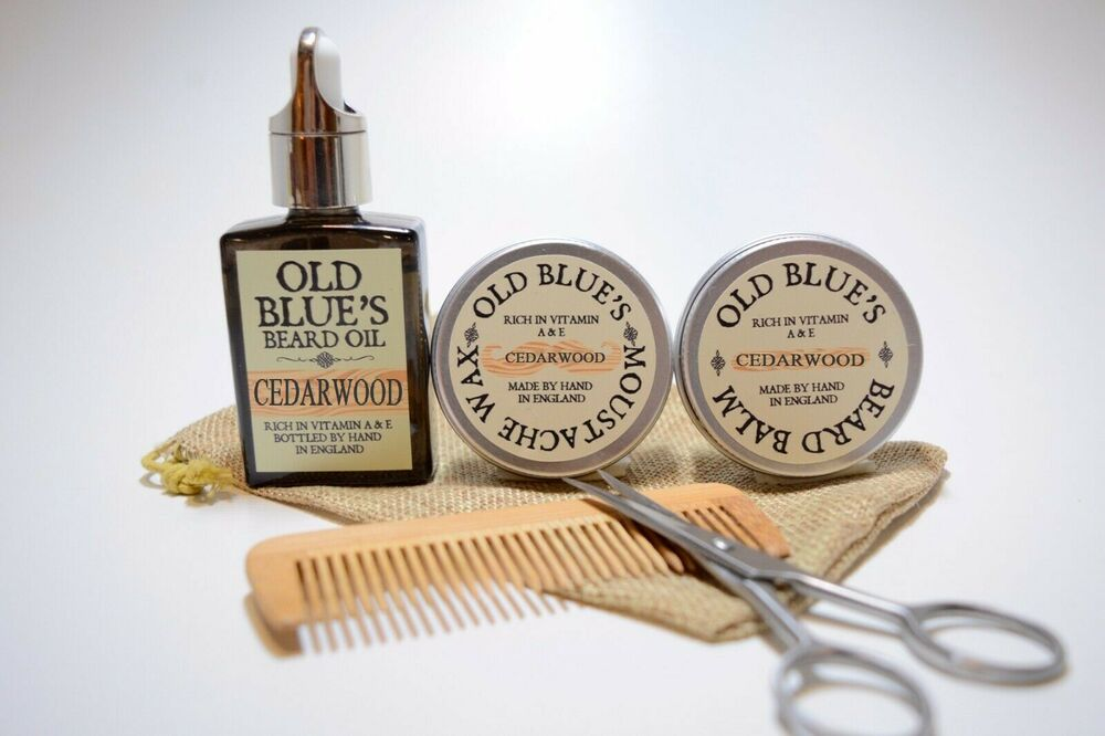 old blue 39 s beard grooming kit woodsman moustache wax beard oil balm ebay. Black Bedroom Furniture Sets. Home Design Ideas