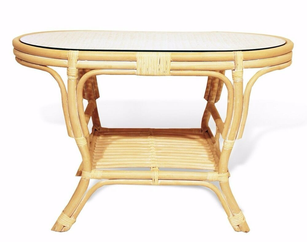 Pelangi Handmade Rattan Wicker Oval Coffee Table W Glass