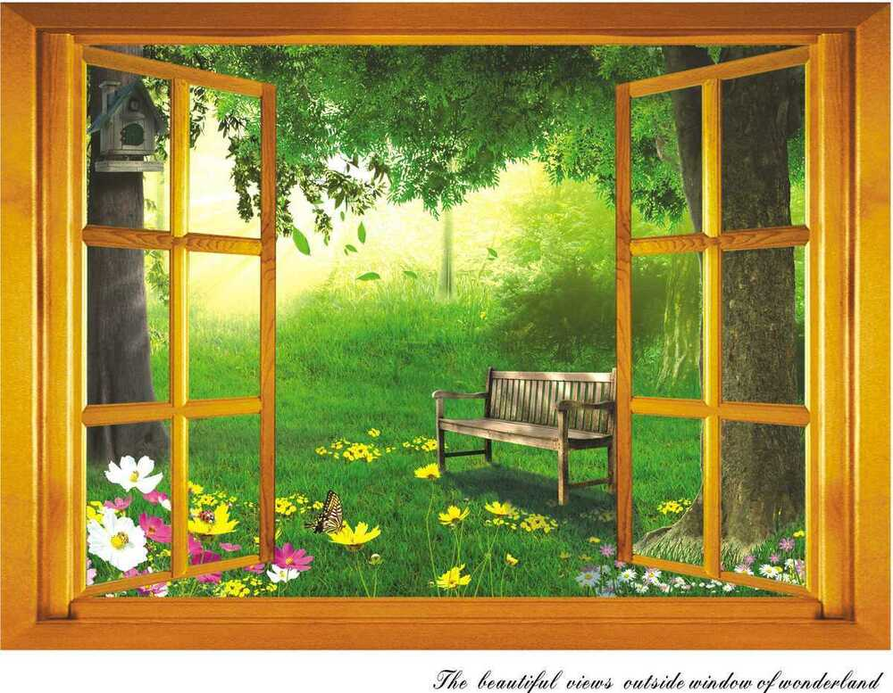 3d beautiful garden views outside window wall sticker for Artwork for home decoration