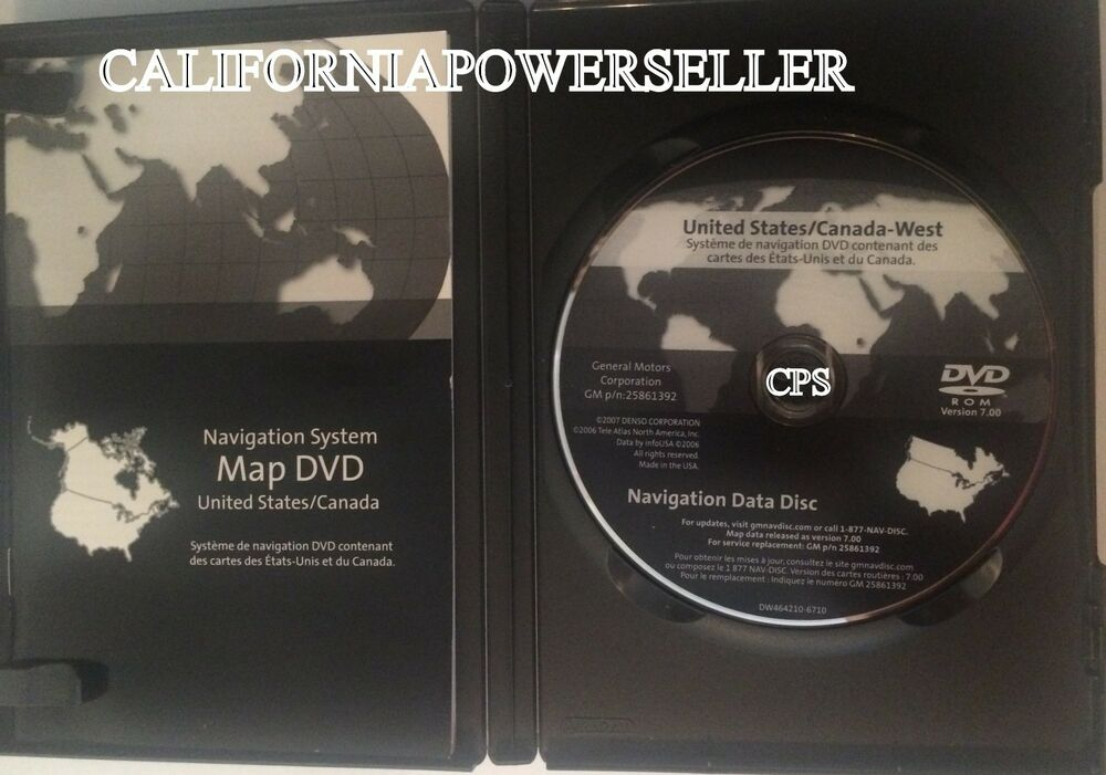 04-06 Cadillac SRX Navigation DVD United States/Canada WEST MAP V ...