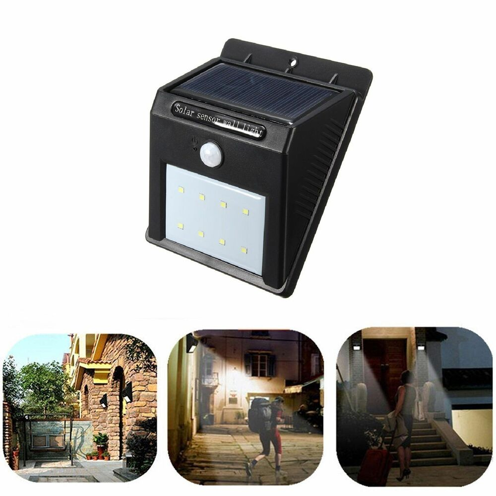Wall Mounted Solar Porch Lights : 8 LED Solar Power PIR Motion Sensor Wall Light Outdoor Waterproof Garden Lamp eBay