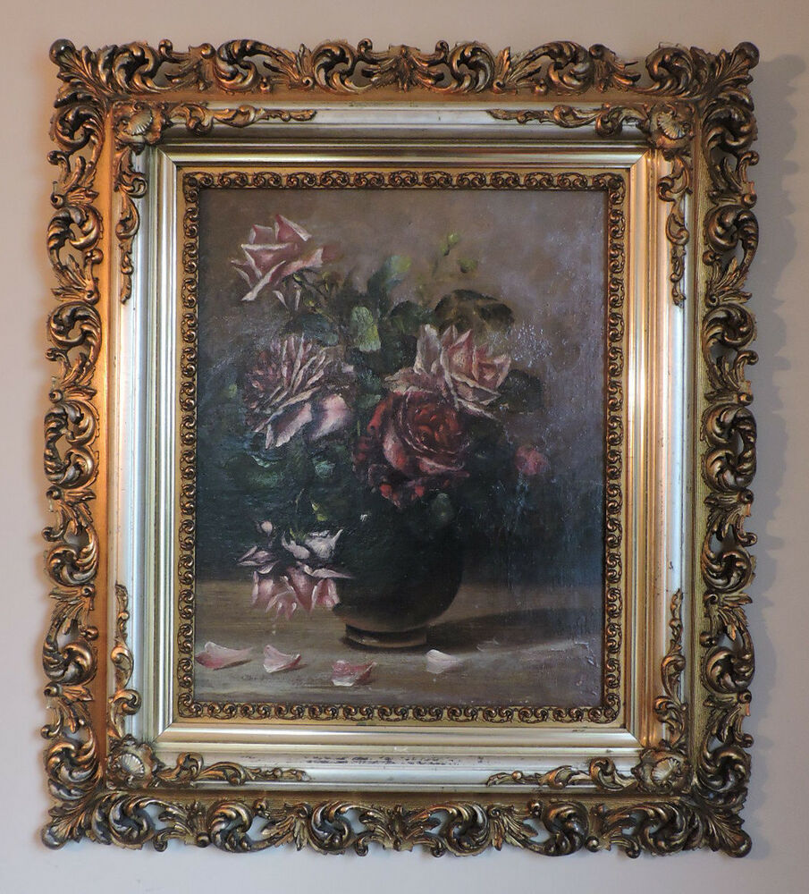 Antique Victorian Pink Amp Red Roses Oil Painting In Fancy