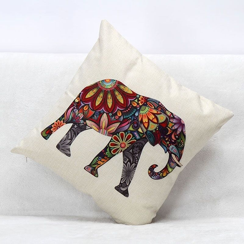 Retro colorful india elephant home decor cotton linen pillowcase cushion cover ebay Colorful elephant home decor