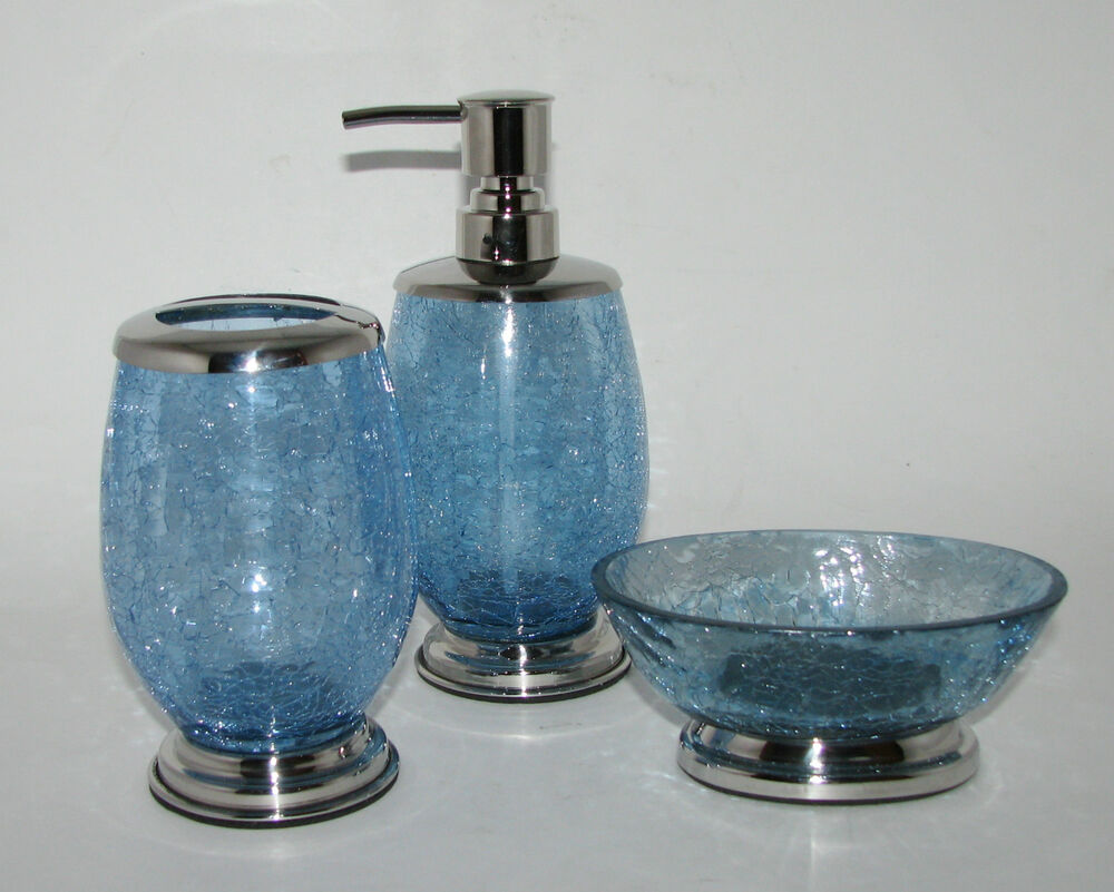 New 3 pc crackled blue glass chrome set soap dispenser for Crackle glass bathroom accessories