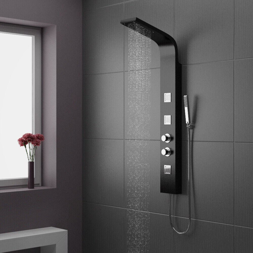 Thermostatic black white shower column tower panel with for Shower tower with body jets