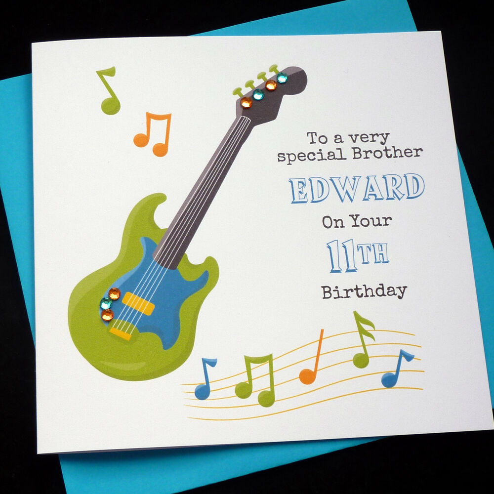 Handmade Personalised Music, Guitar Theme Birthday Card