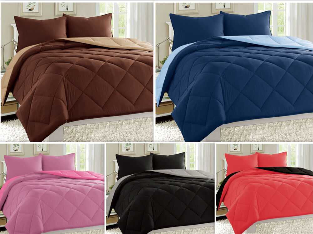 Reversible Comforter Set Down Alternative 1 Pc Bed Cover