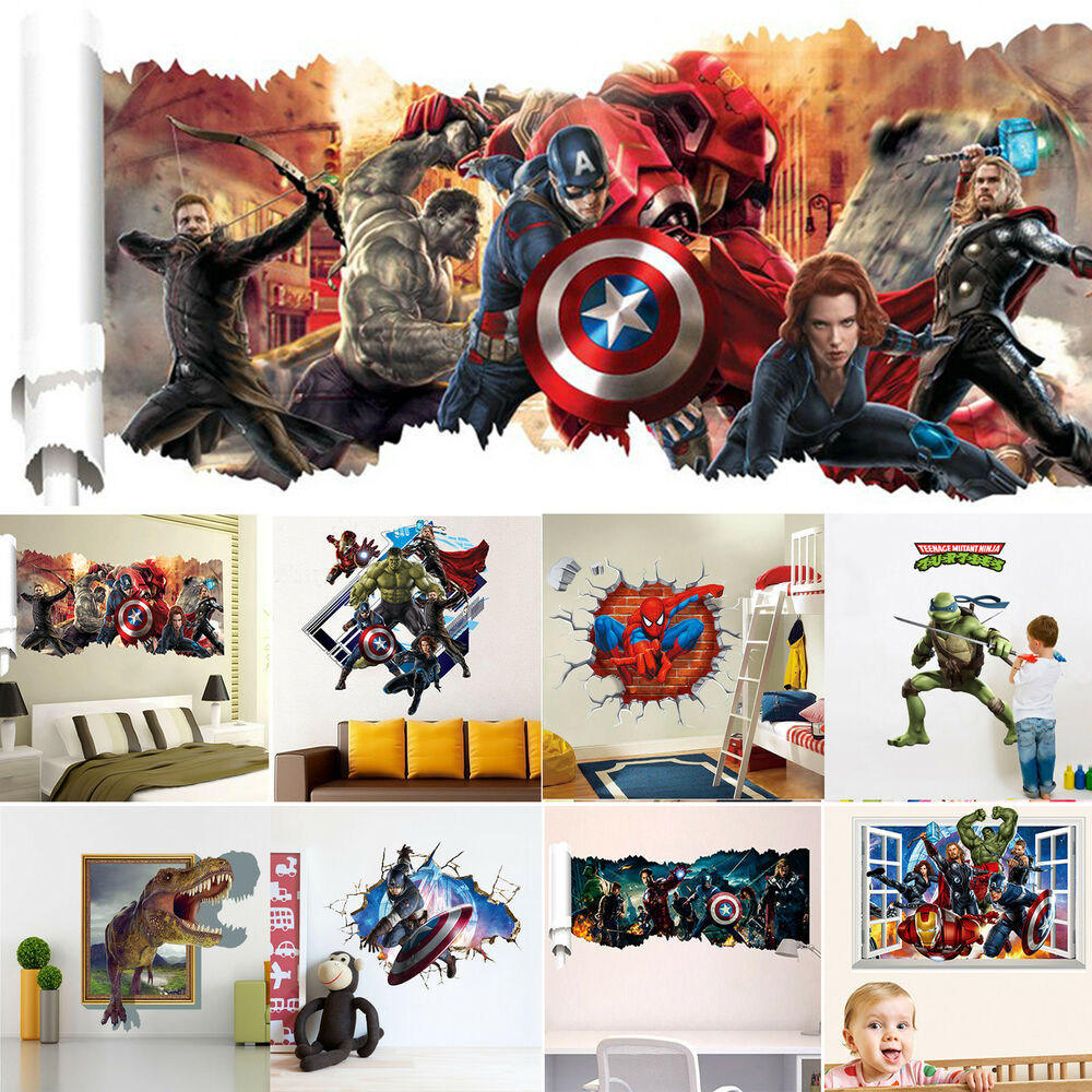 3d removable superhero wall stickers vinyl art decals kids for Sticker mural 3d