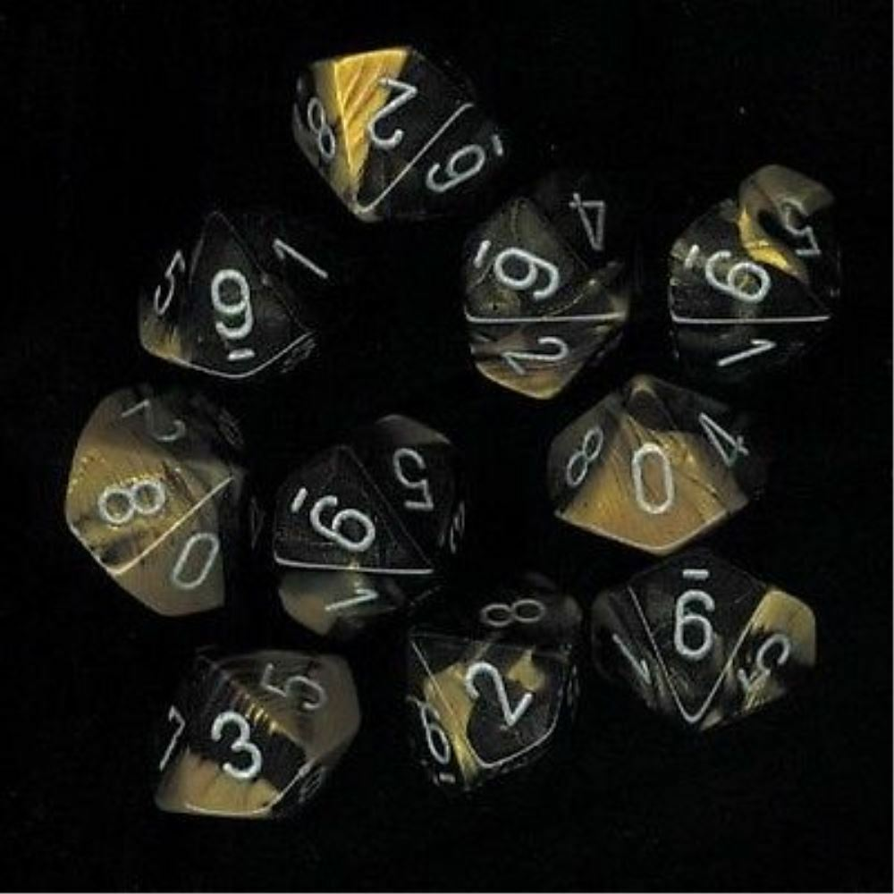 Chessex Dice Sets Gemini Black & Gold Silver Ten Sided Die