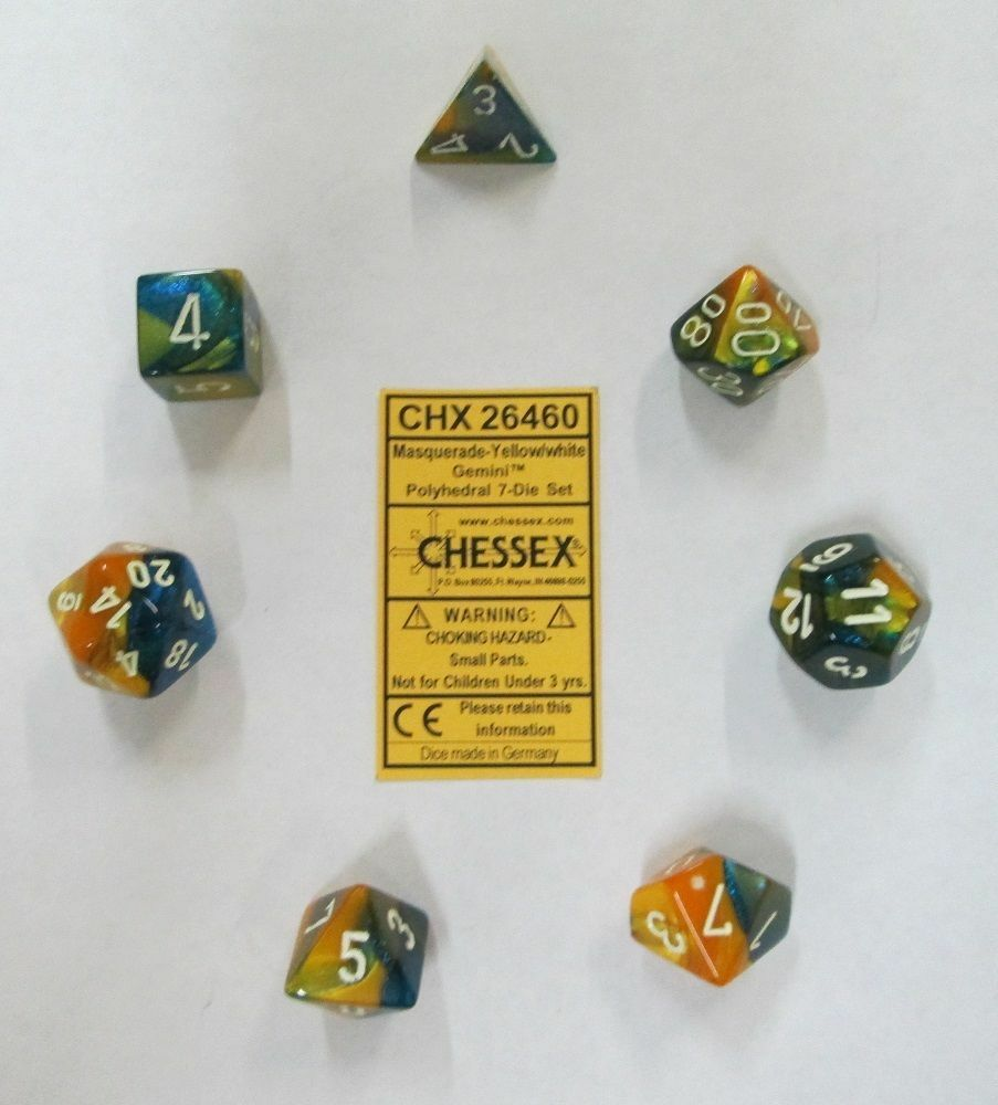 Chessex Polyhedral 7-Die Gemini Dice Set Masquerade Yellow