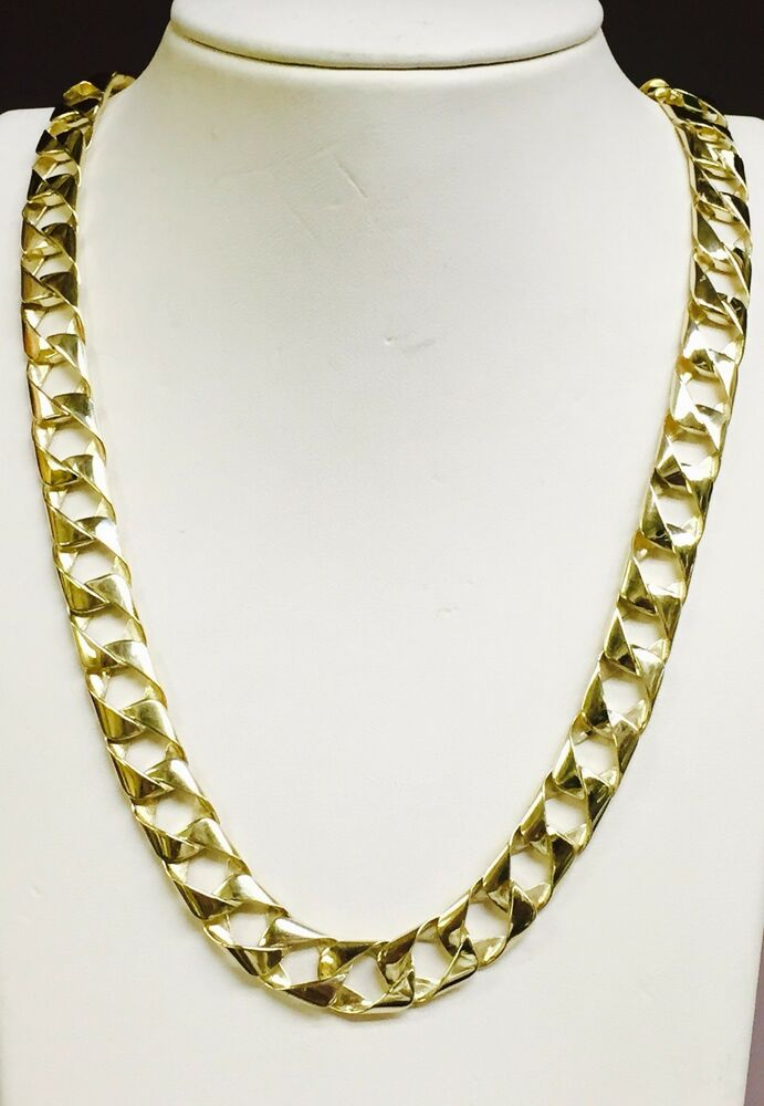 10kt Solid Gold Handmade Curb Link Mens Chain Necklace 26 Quot 80 Grams 11mm Ebay