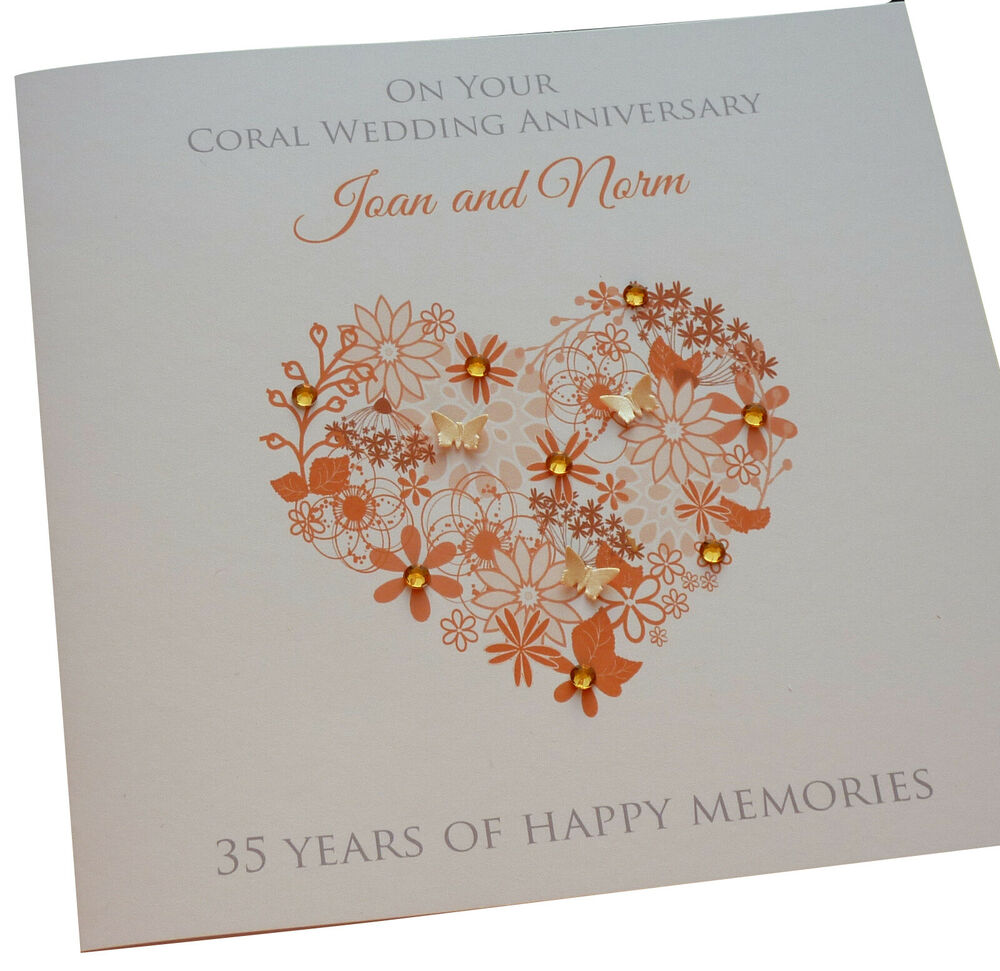 Coral Wedding Anniversary 35th Wedding Anniversary Card: Personalised Handmade Coral / 35th Wedding Anniversary