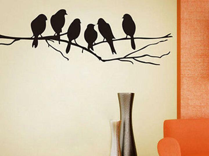 Black bird tree branch wall stickers decal removable home for Black tree wall mural