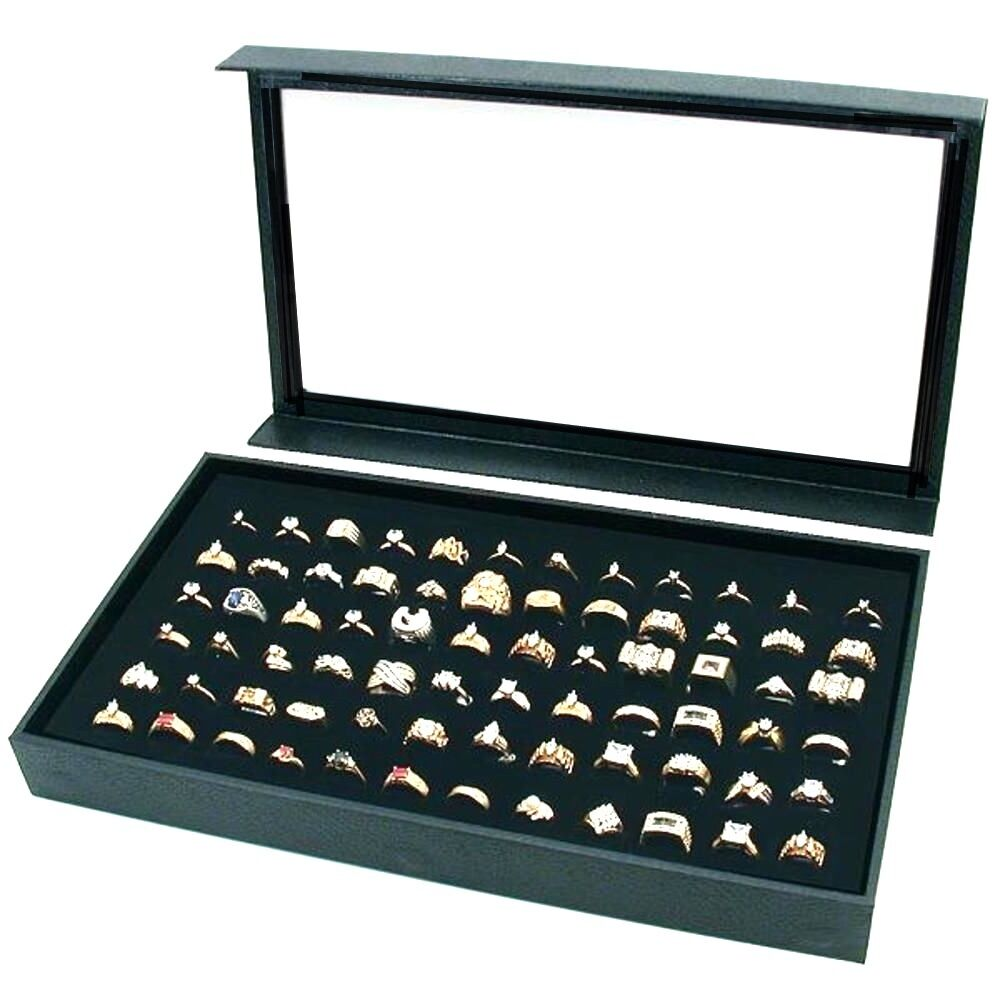 1 Black 72 Ring Display Storage Box Case With Detachable