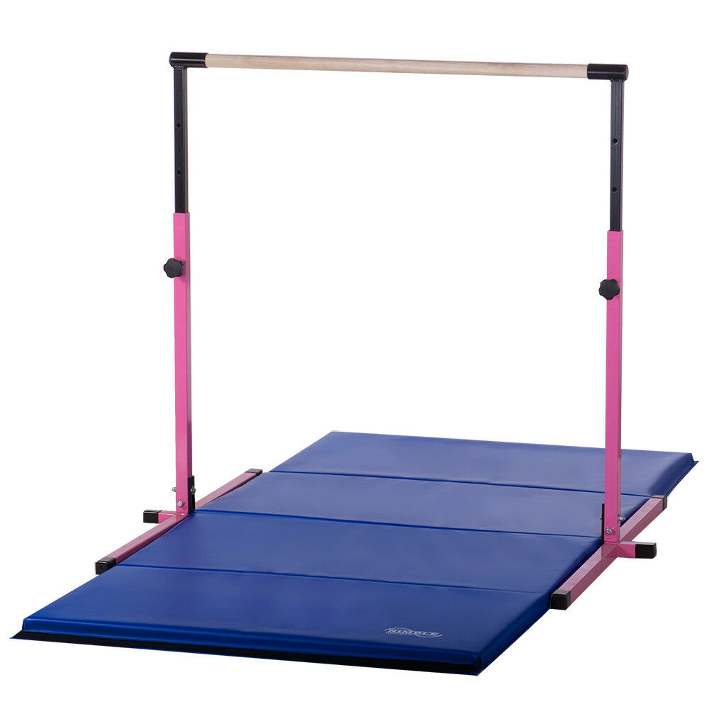 Ebay Bar: Pink Adjustable Horizontal Bar 8ft Blue Gymnastics Mat