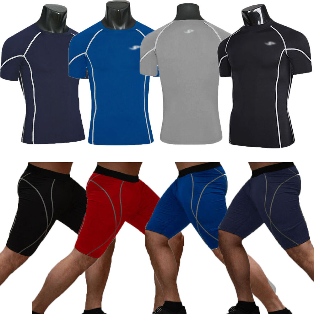 Mens Compression Armour Base Under Layer Shirt Top Shorts ...
