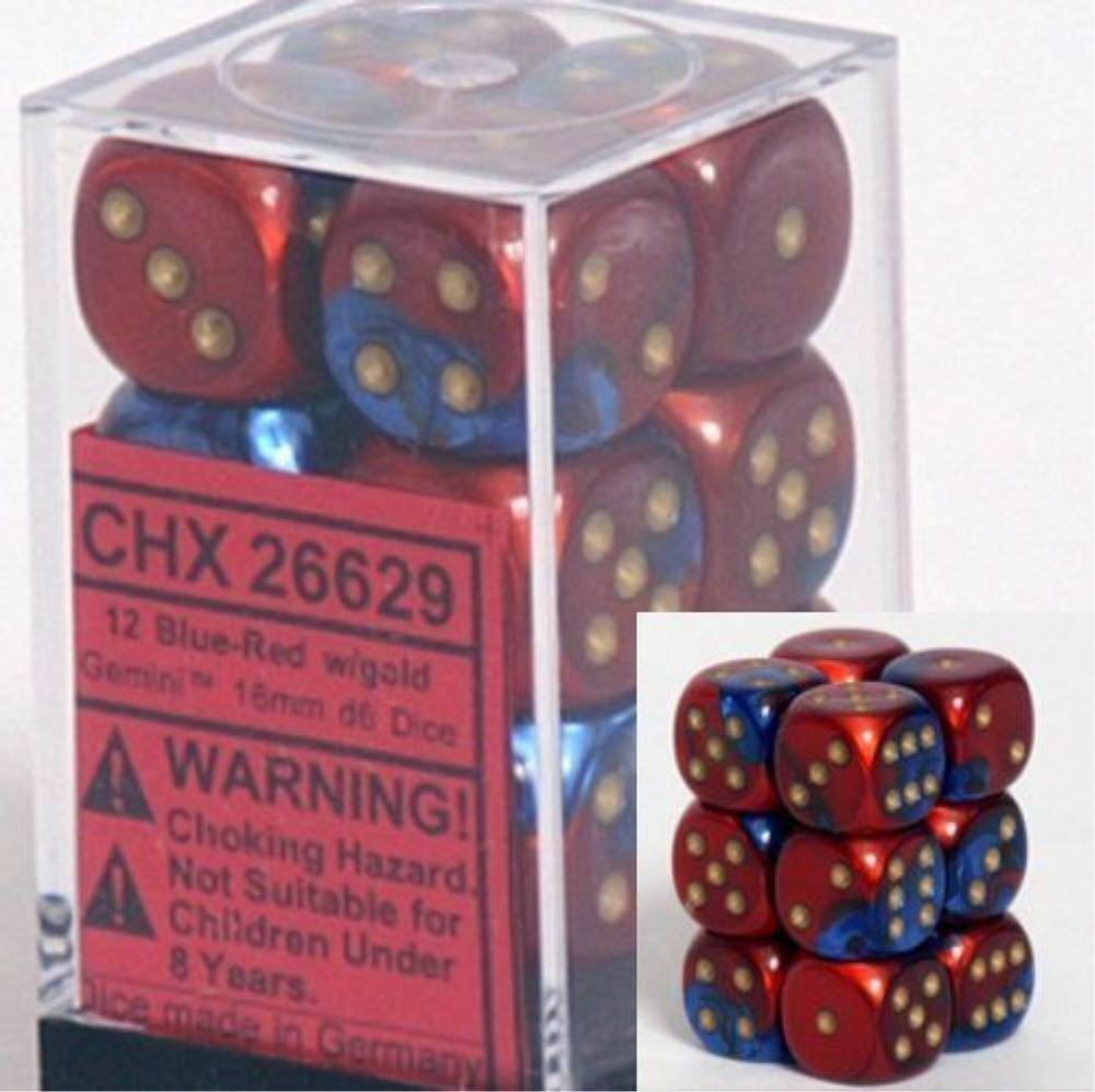 Chessex Dice D6 Sets Gemini Blue & Red W/ Gold 16mm Six
