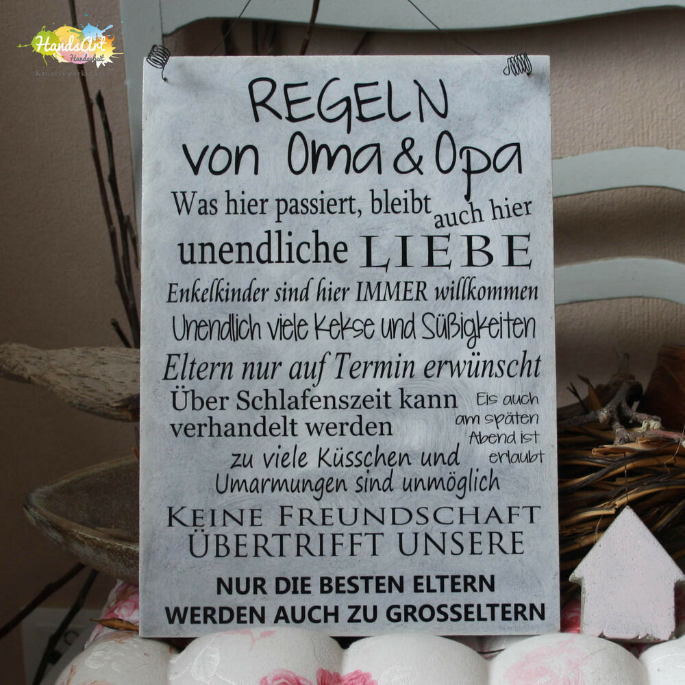 shabby style regeln von oma opa holzschild geschenk dekoration handsart ebay. Black Bedroom Furniture Sets. Home Design Ideas