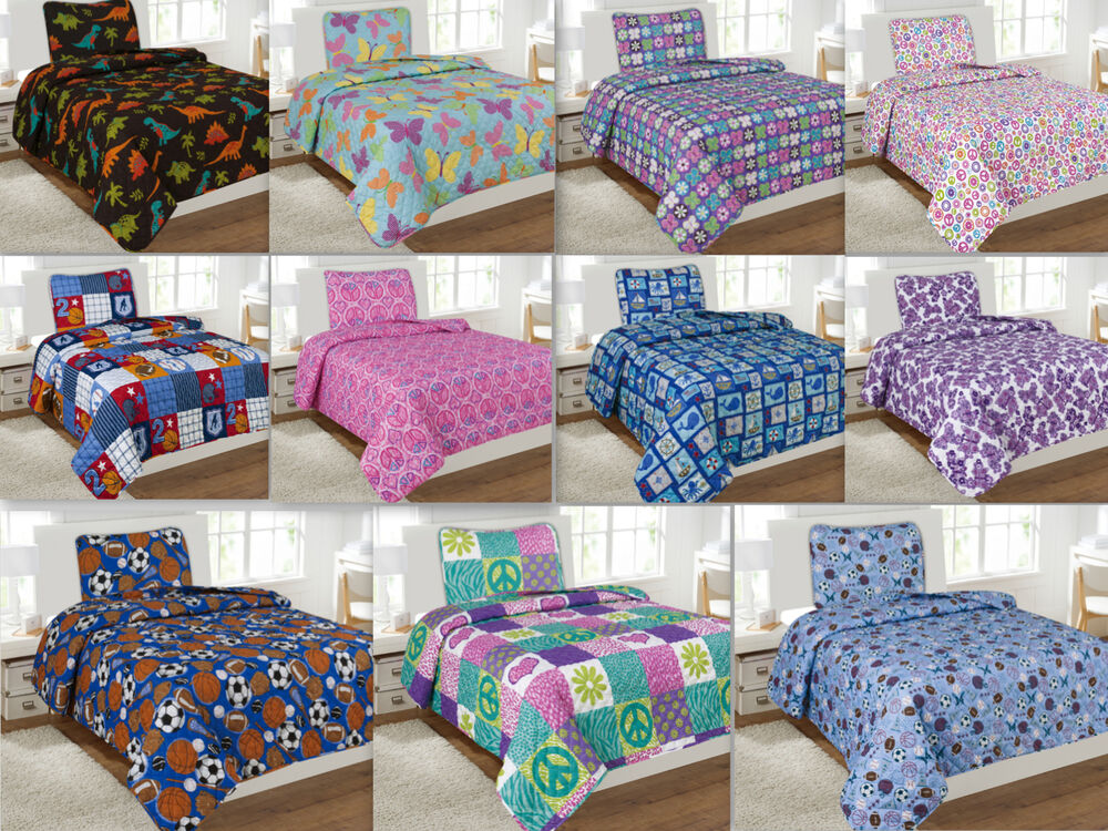 Kids 2-Piece Quilt Set Twin Size Bed Cover Bedspread Boys & Girls Pink Blue Red eBay