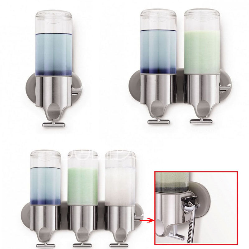 New wall mounted transparent soap dispenser shampoo conditioner shower gel ebay - Wall mounted shampoo and conditioner dispenser ...