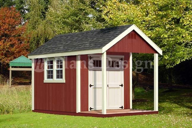 12 39 x 8 39 cabin loft utility shed with porch plans for Shed with porch and loft