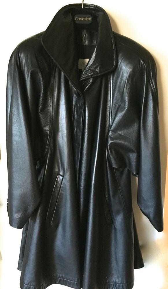 Woman s leather swing jacket vakko vintage 3 4 length black solid xs