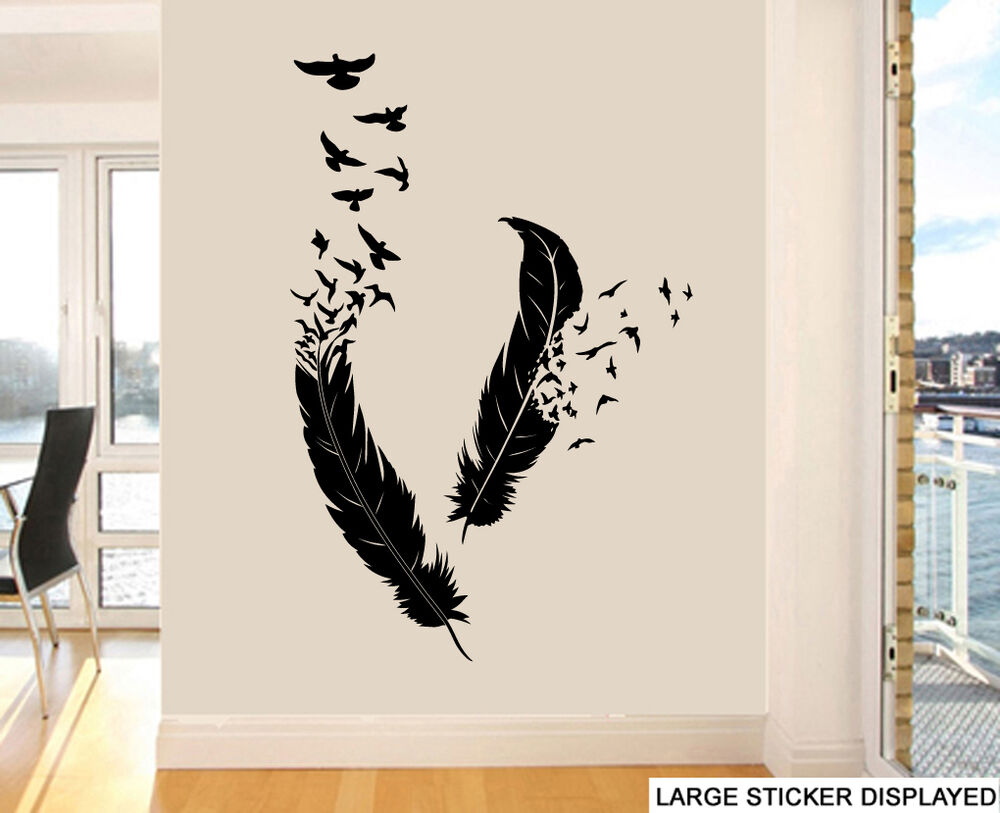 abstract feathers birds design wall art stickers flying transfer murals decals ebay. Black Bedroom Furniture Sets. Home Design Ideas