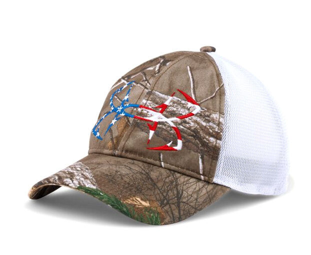 Under armour ua fish hook logo realtree xtra camo american for American flag fish hat
