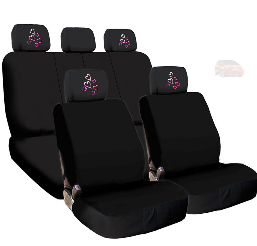 New Car Black Cloth Seat Covers And Red Pink Hearts Logo