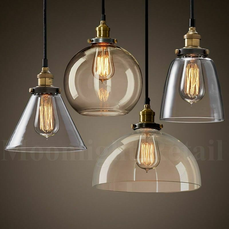 New modern vintage industrial retro loft glass ceiling for Industrial bulb pendant