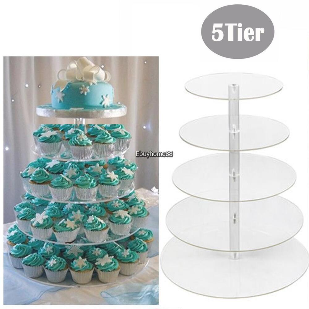 5 Tier Solid Acrylic Round Cupcake Wedding Party Birthday