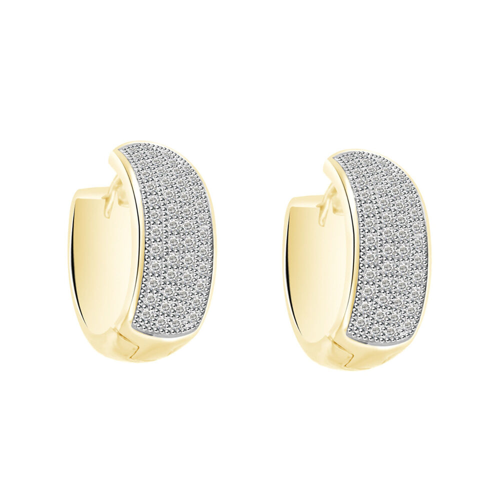 Diamond Yellow Gold Finish Hoop Style Huggie Real 925 Silver Mens Earrings