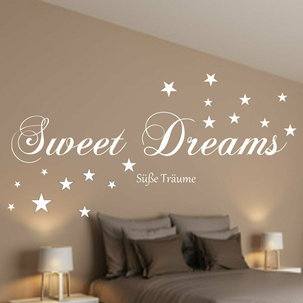 wandtattoo schlafzimmer sweet dreams s e tr ume 90588b wand spruch sterne ebay. Black Bedroom Furniture Sets. Home Design Ideas
