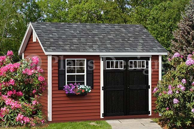 Deluxe shed plans 10 39 x 12 39 reverse gable roof style for Gable style shed